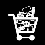 Graphic of shopping cart full of electronics